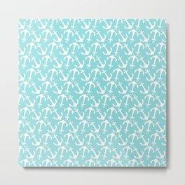 Nautical modern teal white anchor pattern Metal Print