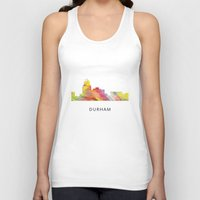 north carolina Tank Tops featuring Durham North Carolina Skyline by Marlene Watson
