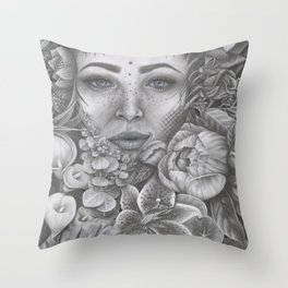Lady In Bloom Throw Pillow
