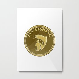 Fly Fishing Gold Coin Retro Metal Print