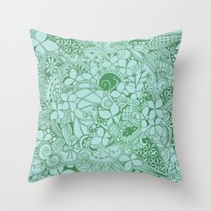 Blue square, green floral doodle, zentangle inspired art pattern Throw Pillow