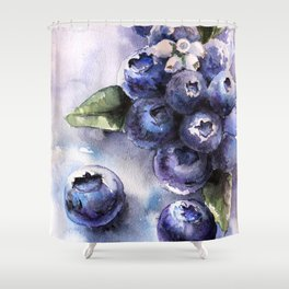 Watercolor Blueberries - Food Art Shower Curtain