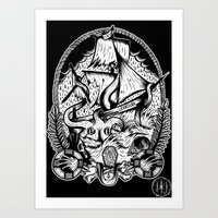 kraken Art Prints featuring Kraken  by Jamie Hodgson Illustration