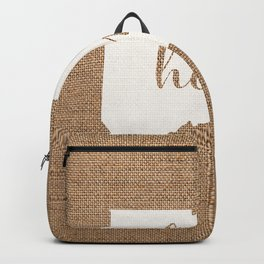 Connecticut is Home - White on Burlap Backpack