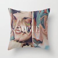 vogue Throw Pillows featuring Vogue by Mrs Araneae