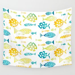 Watercolor Fish Pattern Wall Tapestry