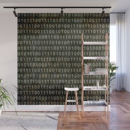 Binary Code - Distressed textured version Wall Mural