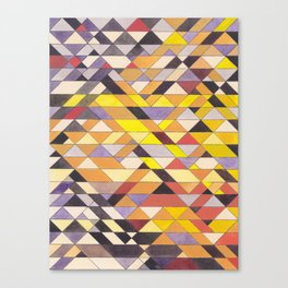 Triangle Pattern No.8 Black and Yellow Canvas Print