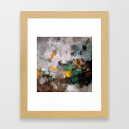 Modern Abstract Art in Brown, Green and Yellow Framed Art Print
