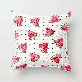 Watermelon Polka Dots Throw Pillow