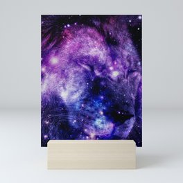 Lion Leo purple blue Mini Art Print