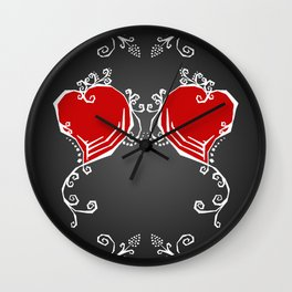 Gothic Hearts Sketch Wall Clock