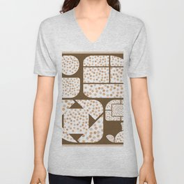 Expressive Windows of Brown and Rust Dots Unisex V-Neck