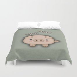 Cute Pink Pig Oink Duvet Cover