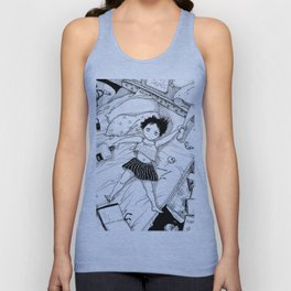 Monochrome Surrealistic Illustration:Hold Your Ankle in My Messy Bedroom Unisex Tank Top
