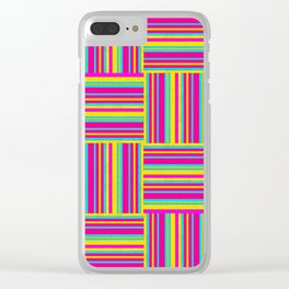 Neon Multicolored Weaved Squares Clear iPhone Case