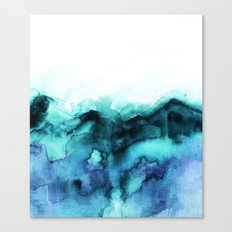 Abstract teal purple watercolor Canvas Print