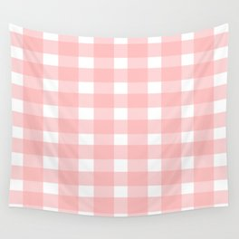 Pink Gingham Design Wall Tapestry