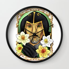 Narcissus poeticus. Daffodil. Ondolemar. Elf Wall Clock