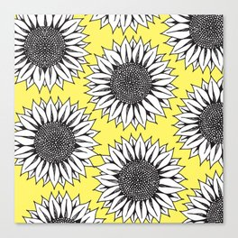 Yellow Sunflower in Black and White Hand Drawing Canvas Print