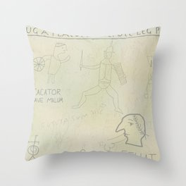 Ancient Roman Graffiti (Yellow Ochre) Throw Pillow