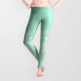 White corals on mint Leggings
