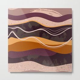 Abstract waves hand drawn illustration pattern Metal Print
