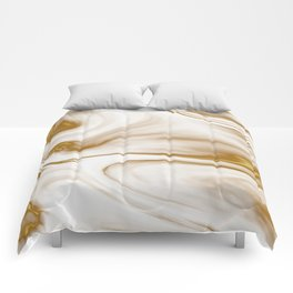Gold Milky Swirl Marble Comforters