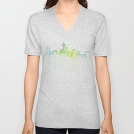 Seattle Skyline Watercolor Space Needle Painting Unisex V-Neck