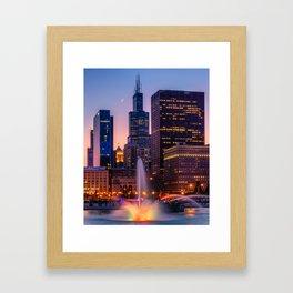 Buckingham Fountain In Chocago Framed Art Print
