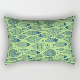 Fish Blue Green Rectangular Pillow