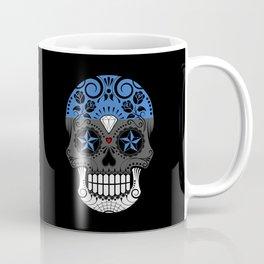 Sugar Skull with Roses and Flag of Estonia Coffee Mug