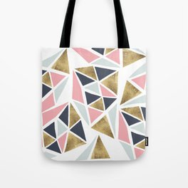 Modern geometrical pink navy blue gold triangles pattern Tote Bag