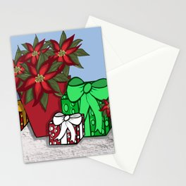 Poinsettias and Packages Stationery Cards