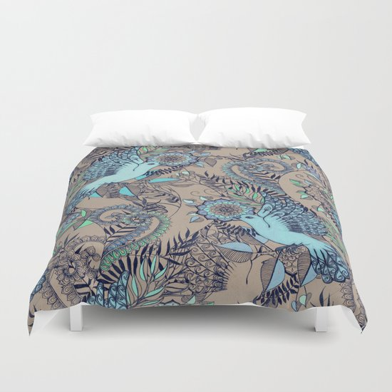 Flight of Fancy - aqua, mint, taupe Duvet Cover