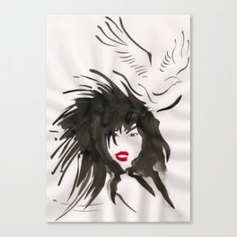 Woman & Bird Canvas Print