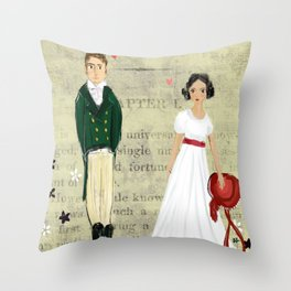 Mr.Darcy of Pemberley and Miss Bennet of Longbourn Throw Pillow