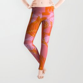 Tropical Jungle Pattern - Orange & pink Leggings