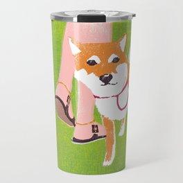 Shiba inu in Central Park Travel Mug