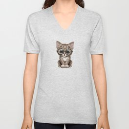 Cute Brown Tabby Kitten Wearing Eye Glasses on Pink Unisex V-Neck