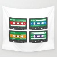 teenage mutant ninja turtles Wall Tapestries featuring Teenage Mutant Ninja Mixtapes by Mitch Henson