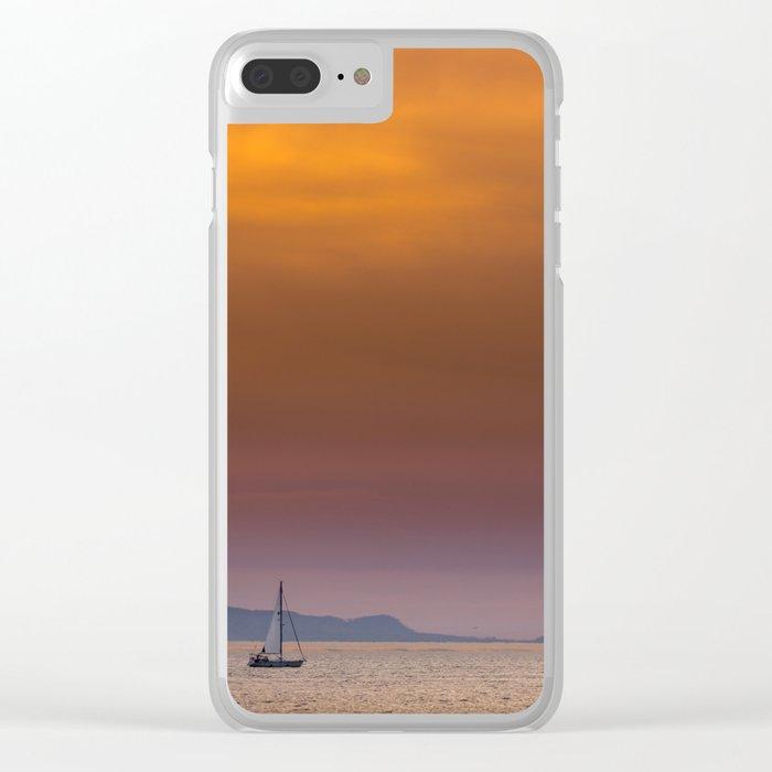 Yacht sailing towards Catalina Island Clear iPhone Case