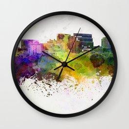 Arlington skyline in watercolor background Wall Clock