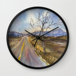 Road to Blue Original Watercolor Painting Wall Clock