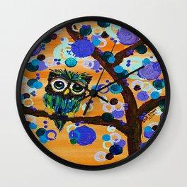 :: Sunset Gemmy Owl :: Wall Clock