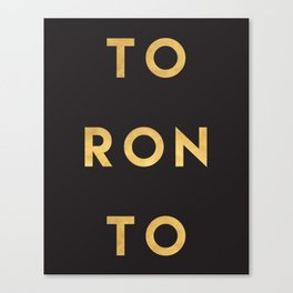 TORONTO CANADA GOLD CITY TYPOGRAPHY Canvas Print