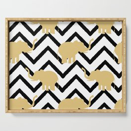 elephant gold silhouette on abstract black chevron Serving Tray