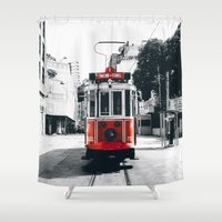 istanbul Shower Curtains featuring Istanbul - Taksim by Ruveyda & Emre