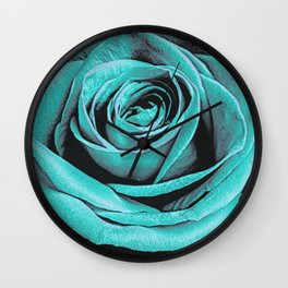 Turquoise Rose Wall Clock