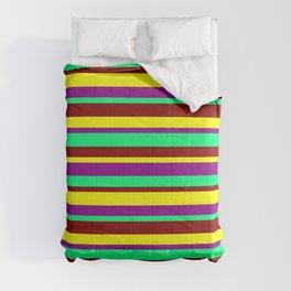 Maroon, Yellow, Dark Magenta, and Green Striped Pattern Comforters
